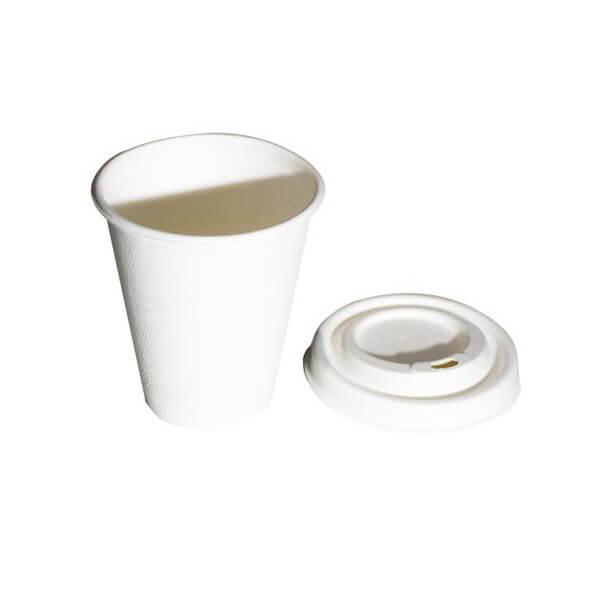 vaso y tapa compostable